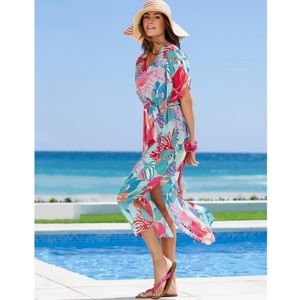 Talbots tropical island beach cover caftan maxi XS